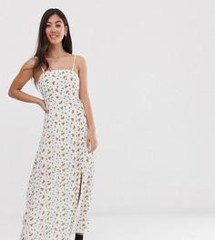 Платье макси с квадратным вырезом и цветочным принтом Vero Moda Petite - Кремовый