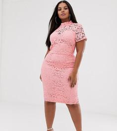 Розовое кружевное платье миди Missguided Plus - Розовый