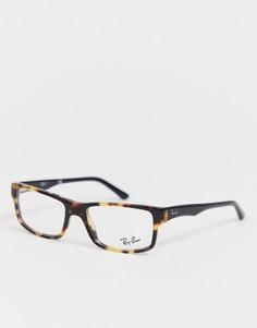 Солнцезащитные очки в тонкой черепаховой оправе Ray-Ban - Коричневый