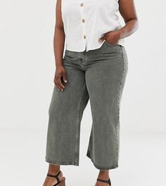 Выбеленные джинсы цвета хаки с широкими штанинами ASOS DESIGN Curve premium - Зеленый