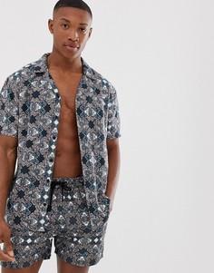 Рубашка с короткими рукавами и геометрическим принтом (из комплекта) Another Influence - Темно-синий