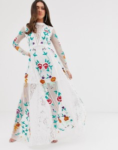 Белое платье макси с кружевной отделкой и цветочной вышивкой Frock And Frill - Белый