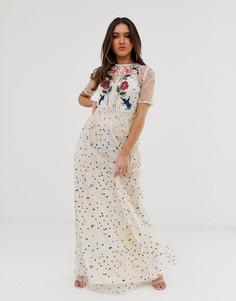 Платье макси в разноцветный горошек с вышитыми цветами и птицами Frock And Frill - Мульти