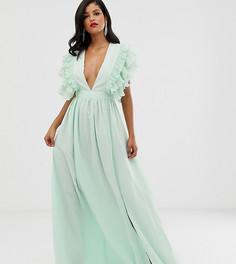 Мягкое платье макси мятного цвета с глубоким вырезом и отделкой на плечах True Decadence Tall Premium - Зеленый