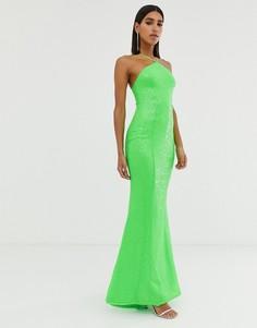 Платье цвета лайма с открытой спиной Goddiva - Зеленый