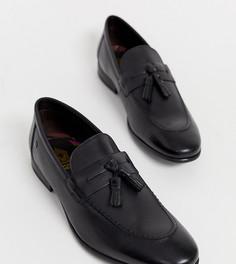 Черные кожаные лоферы для широкой стопы с кисточками Base London - Черный