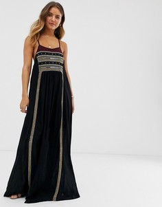 Платье макси с вышивкой Raga Moonlight In Morocco - Черный