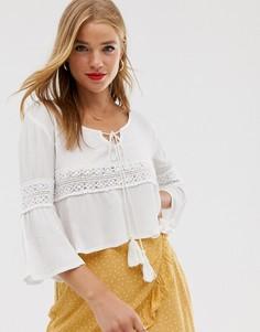 Укороченная блузка с кисточками Raga - Белый