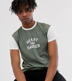 Приталенная футболка хаки Heart & Dagger - Зеленый