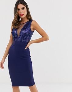 d5f3483dd35 Платье-футляр миди с пайетками City Goddess - Темно-синий с прозрачными  вставками