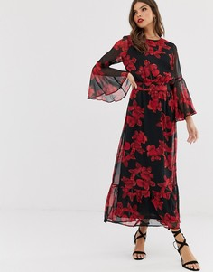 Платье макси с цветочным принтом Y.A.S - Черный
