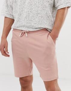 Трикотажные шорты из органического хлопка с затягивающимися шнурками Selected Homme - Розовый