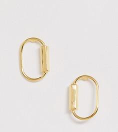 Позолоченные серебряные серьги-гвоздики со звеньями ASOS DESIGN - Золотой