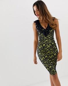 Кружевное облегающее платье с V-образным вырезом и оборкой Vesper - Темно-синий