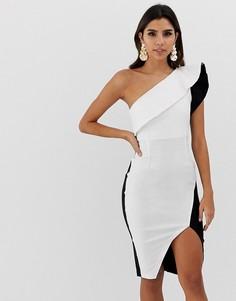 Платье-футляр на одно плечо Vesper - Белый