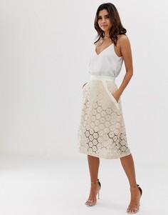 Жаккардовая расклешенная юбка миди Vesper - Розовый