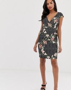 Жаккардовое платье-футляр в клетку с цветочным принтом и короткими рукавами Paper Dolls - Мульти