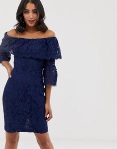 Кружевное платье-футляр с открытыми плечами Paper Dolls - Темно-синий
