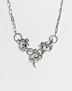 Серебристое ожерелье в стиле татуировки ASOS DESIGN - Серебряный