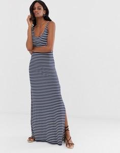 Темно-синее платье макси в полоску Vila - Мульти
