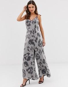 Комбинезон с широкими штанинами и леопардовым принтом Religion - Серый