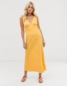 Желтое платье миди с завязками на плечах Vero Moda - Желтый