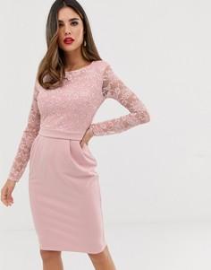 Платье миди с кружевной отделкой City Goddess - Розовый