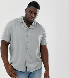 Синяя однотонная рубашка с отложным воротником и короткими рукавами Another Influence - Черный