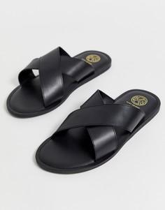 Черные кожаные сандалии с перекрестными ремешками KG by Kurt Geiger - Черный
