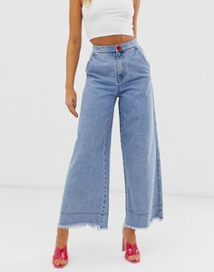 Широкие расклешенные джинсы с необработанными краями Miss Sixty - Синий
