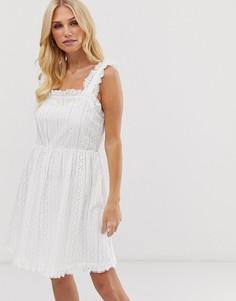 Платье на бретельках с вышивкой ришелье Y.A.S - Белый