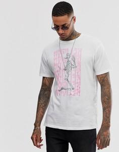 Белая футболка с розовым принтом скелета Religion - Белый