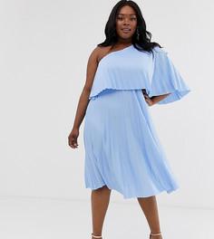 Плиссированное платье миди с широкими рукавами ASOS DESIGN Curve - Синий