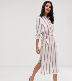 Платье миди в полоску, с пуговицами и завязкой на талии Vero Moda Tall - Мульти