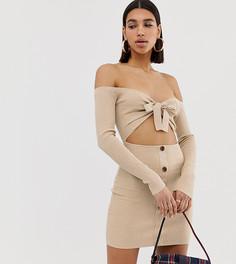 Бежевое платье мини в рубчик с завязкой и пуговицами Missguided - Бежевый
