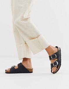 Кожаные сандалии с большими пряжками Birkenstock - arizona - Черный