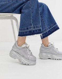 Buffalo London Classic Kicks silver glitter lowtop flatform trainer - Серебряный