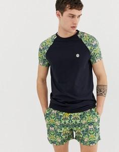 Комбинируемая футболка с рукавами реглан и тропическим принтом Le Breve - Темно-синий
