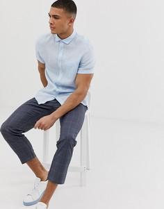 Голубая льняная рубашка с короткими рукавами Celio - Синий