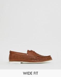 Светло-коричневые кожаные плетеные туфли для широкой стопы KG by Kurt Geiger - Рыжий