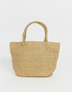 Бежевая соломенная сумка Weekday - Бежевый
