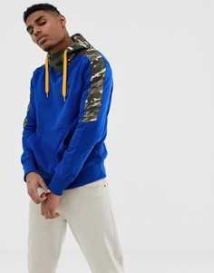 Синий худи без застежки с камуфляжными вставками G-Star Meson - Синий