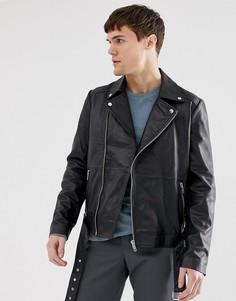 Кожаная байкерская куртка на молнии с поясом Barneys Originals - Черный