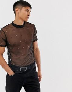 Черная сетчатая футболка с отделкой ASOS DESIGN - Черный