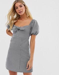 Платье в клетку с завязкой Miss Selfridge - milkmaid - Черный