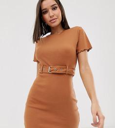 Платье-футболка в рубчик с поясом Missguided - Коричневый