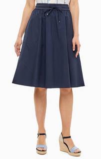 Юбка Темно-синяя юбка из хлопка на кулиске Marc Opolo