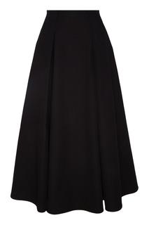 Черная юбка миди со складками Chapurin