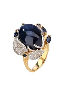 Золотое кольцо с бриллиантами, сапфирами и звездчатым сапфиром Кремлевские Мастера