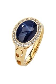 Золотое кольцо со звездчатым сапфиром и бриллиантами Кремлевские Мастера